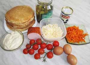 Ингредиенты для закусочного  торта из блинов