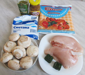 Ингредиенты для ленивого пирога с курицей и грибами