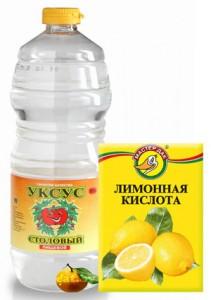 Продукты-заменители бытовой химии - уксус и лимонная кислота