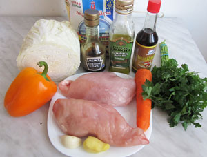 Ингредиенты для салата по китайски с пекинской капустой и курицей