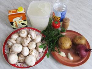 Ингредиенты для вкусного супа пюре из шампиньонов