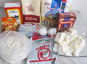 Ингредиенты для шоколадного торта с творожно-кокосовой начинкой