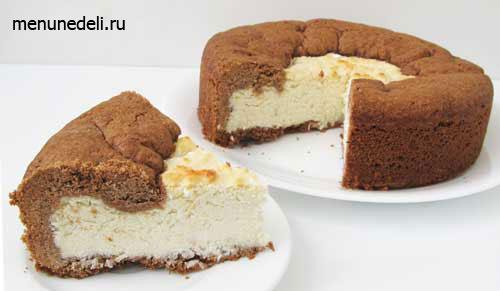 Шоколадный пирог с кокосово-творожной начинкой