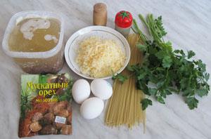 Продукты для быстрого супа с сыром и яйцом