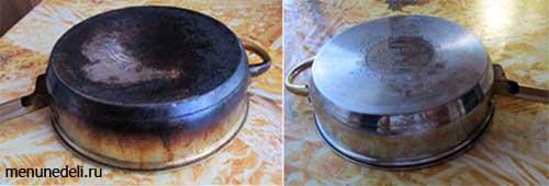 Грязная сковорода с большим количеством копоти и чистая сковорода без грязи отмытая с помощью силикатного клея и пищевой соды