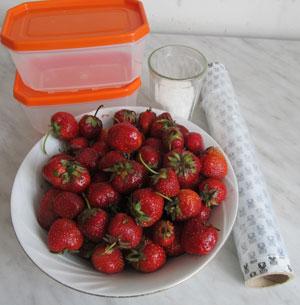 Ингредиенты для замораживания клубники в маленькой морозилке