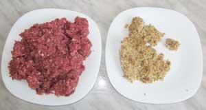 Готовый фарш для котлет с добавлением лука яйца соли и перца и остатки вчерашней каши