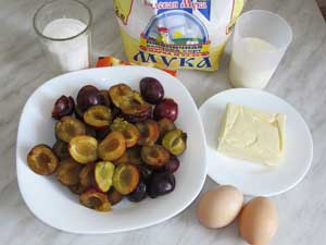 Продукты для сливового пирога с заварной помадкой