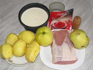 Ингредиенты для свинины тушеной с яблоками и картофелем