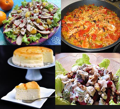 Салат с утиной грудкой Салат из сырой свеклы с рокфором и орехами в йогуртовом соусе паэлья японский чизкейк