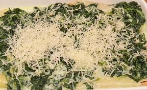 Трубочки с фаршем поливается шпинатным соусом