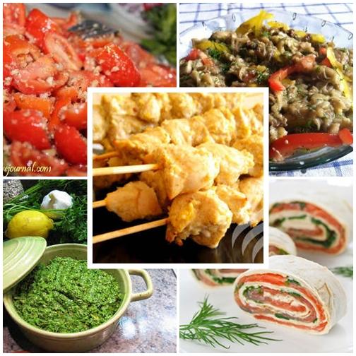 Меню на день рождения на природе Салат с помидорами Южный и салат из печеных баклажан Домашние куриные шашлычки паштет из петрушки и рулетики из лаваша с рыбой