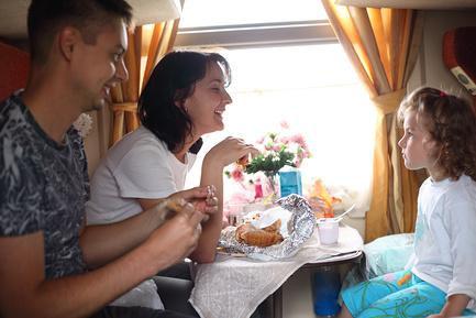 Еда в дорогу для семьи с детьми едущая в поезде