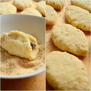 Формирование пирожков из картофельного пюре и грибной начинки