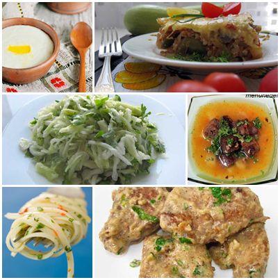 Манная каша с изюмом гороховый суп рататуй с рисом макароны печенка в сметане салат из свежей капусты