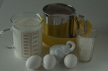Ингредиенты необходимые для приготовления блинчиков на молоке
