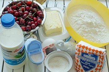 ингредиенты для вишневого пирога с заварным тестом
