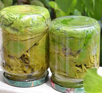 Консервированные виноградные листья для долмы стеклянных перевернутых банках