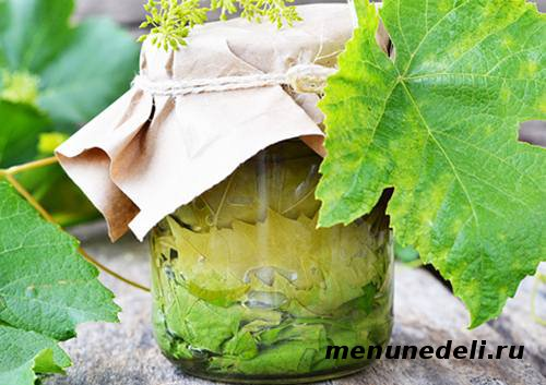 Приготовленные маринованные виноградные листья для долмы в стеклянной банке