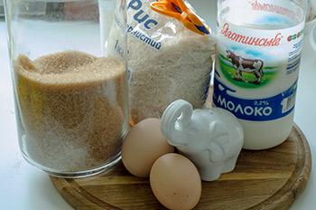 Ингредиенты для сладкой рисовай запеканки