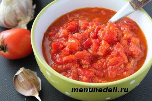 Салат с болгарским перцем и помидорами лютеница