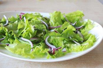 Микс из листьев салата руккола и лук резанный полукольцами