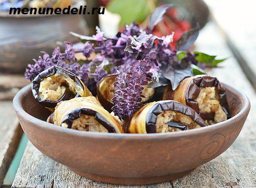 Баклажановые рулетики с грецкими орехами и луком