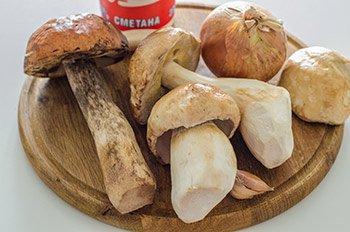 Ингредиенты для грибов тушеных в сметане