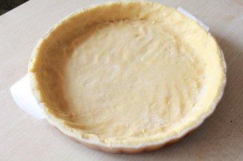 Раскатанное тесто уложенное в керамической форме для запекания