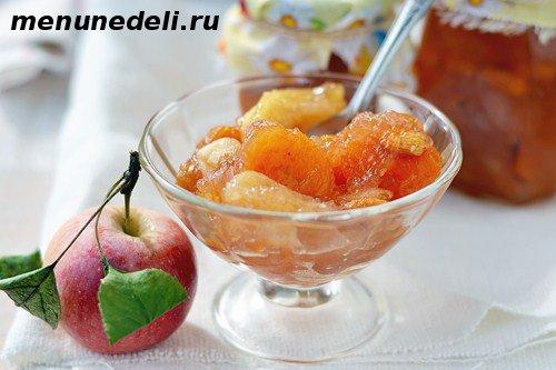 Яблочный джем на зиму с курагой и миндалем