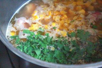 Суп с добавлением индейки кукурузы зелени и специй