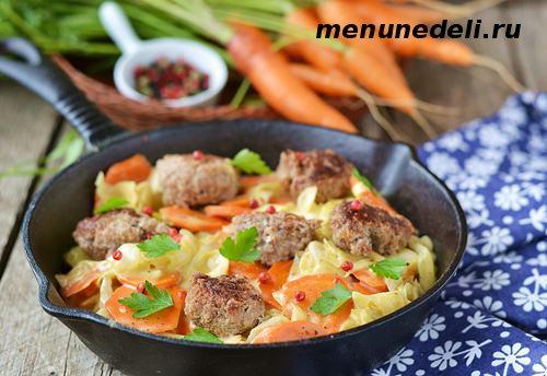 Рецепт тушеных овощей с фрикадельками из телятины и творога