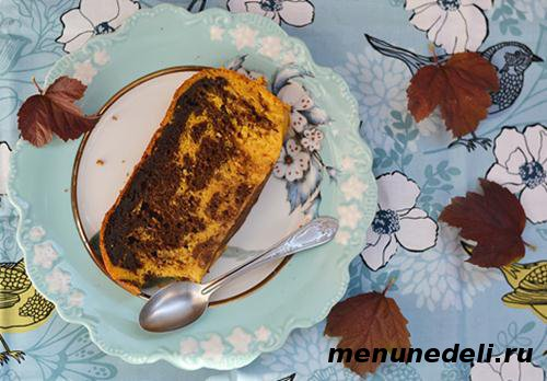 Тыквенно шоколадный кекс в мультиварке на работу или полдник
