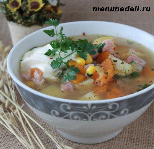 Суп с индейкой кукурузой и зеленью