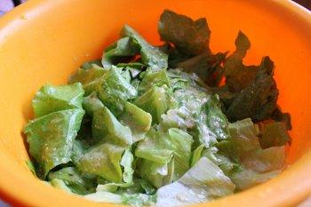 Порванные листья салата перемешанные со смесью из анчоусов сыра  и чеснока