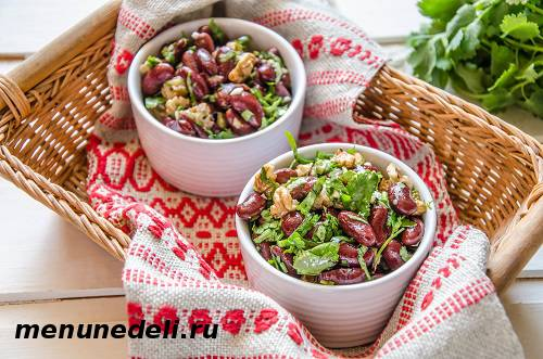 Рецепт салата из фасоли с орехами
