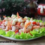 salat s krevetkami i pomidorami s fasol'ju