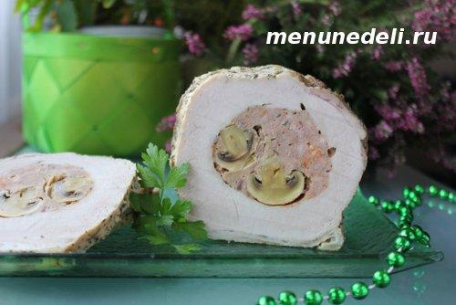 Свинина фаршированная грибами