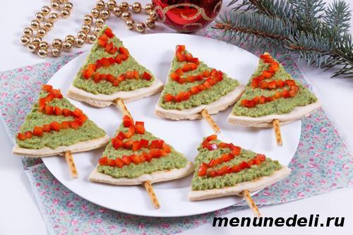 Новогодняя закуска Елочки с разными начинками