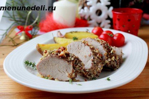 Рецепт свиной вырезки в орехах