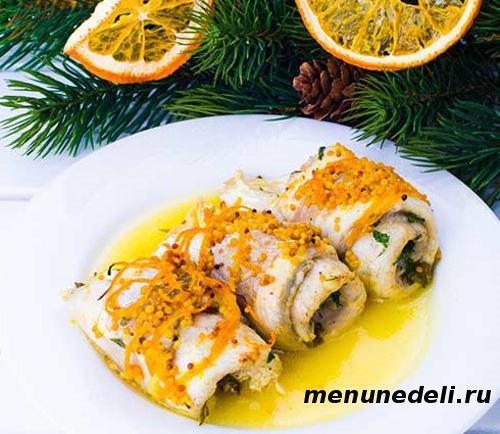 Рыбные рулетики в горчично апельсиновом соусе