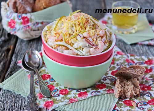 Рецепт салата из креветок и кальмаров