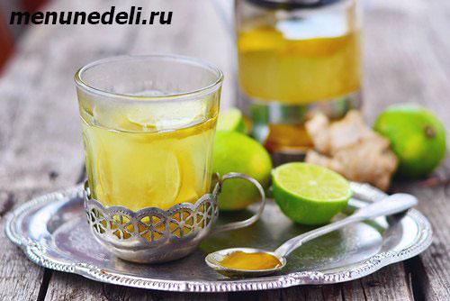 Напиток из имбиря и лайма