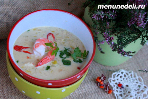 Сливочный суп с креветками и миндалем вином приправами