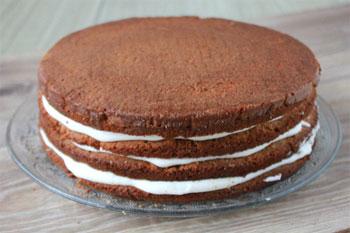 Пропитывая и промазывая кремом коржи собрать торт