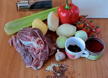 Мясо картофель перец чеснок лук сельдерей помидоры