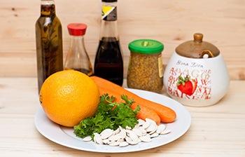 Морковь апельсин тыквенные семечки зелень соль сахар уксус горчица