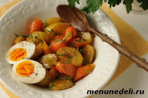 Рецепт теплого салата с картофелем, морковью и яйцом