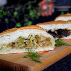 Постные пироги с грибами и капустой