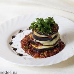 Лазанья из баклажанов с соусом и сыром Моцарелла